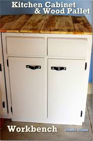 Kitchen Cabinets In Garage Condo Blues Recycled Kitchen Cabinet And Wood Pallet Workbench