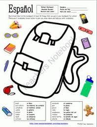 spanish supplies worksheets google search spanish