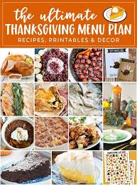 ultimate thanksgiving menu plan recipes printables decor