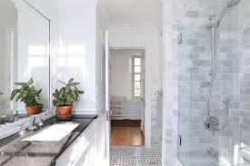 traditional 3 4 bathroom with flush u0026 built in bookshelf in