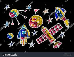 kids drawing space children education stock illustration