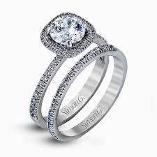 set ring 18k white gold dramatic halo engagement ring set collection