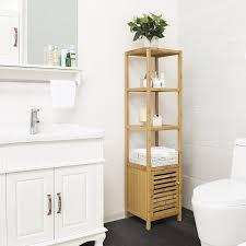 Floor Cabinet For Bathroom Songmics 4 Tiers Bamboo Floor Cabinet Storage Tower