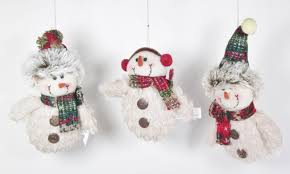 plush snowman tree ornaments set of 3