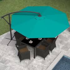 Patio Umbrella Walmart Canada Corliving Ppu 460 U 9 5 Ft Offset Patio Umbrella In Turquoise Blue