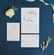 Wedding Stationery Minimal Calligraphy Wedding Invitation Wedding