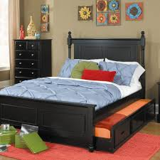 Black And Pink Rugs Black Wooden Trundle Bed Frame With Headboard And White Blue