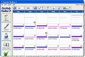 custody toolbox color coded parenting time calendar