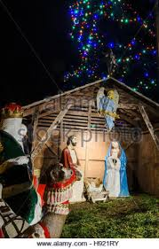 nativity outdoor christmas display of holy family in traditional outdoor nativity
