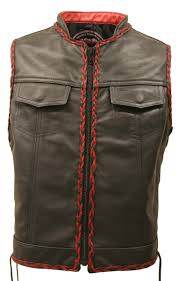 red and black motorcycle jacket lace side black and red braiding leather vest