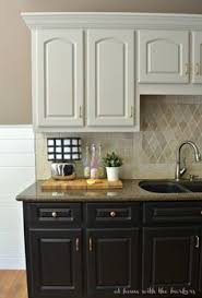 Gray Painted Kitchen Cabinets by Simple Two Tone Kitchen Cabinets In Bright And Grey Colors With