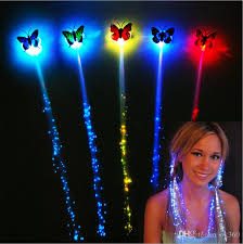 butterfly hair 2017 led hair flash braid fiber luminous braid butterfly hair for