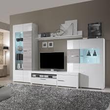 Wohnzimmerm El Billig Wohnwände Weiß Wohnwand Monza Inkl Beleuchtung Weiss Hochglanz
