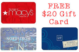 20 dollar gift card free 20 gift card to starbucks gap macy s nordstrom more