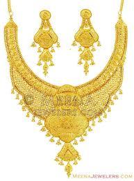 bridal gold set fancy bridal gold necklace set 22k stbr14315 22k designer gold