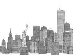 images for u003e new york city skyline black and white illustration