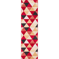 well woven mystic alvin modern geometric red 2 ft x 7 ft 3 in