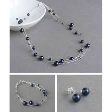 navy jewelry navy floating pearl jewellery set king jewellery