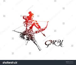 lord rama arrow killing ravana navratri stock vector 709998793