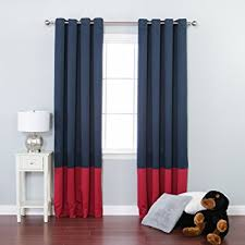 Blackout Navy Curtains Best Home Fashion Colorblock Thermal Insulated