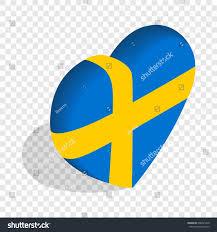 Sweden Flag Image Heart Sweden Flag Colors Isometric Icon Stock Illustration