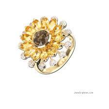 sunflower engagement ring 14k yellow gold citrine smoky topaz sunflower ring with diamonds