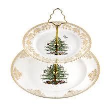 spode christmas tree gold collection 2 tier cake stand spode usa