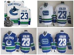 Home Blue Fish 2017 Wholesale Cheap Mens Vancouver Canucks Hockey Jerseys 23