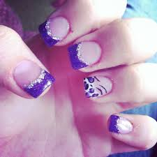 acrylic nails purple and silver tips with a white cheetah and