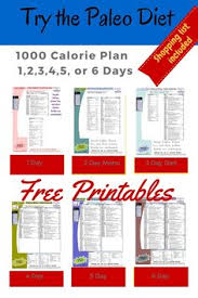 printable 1000 calorie paleo diet for 6 days or less grocery list