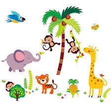 educational learn alphabet and numbers nursery wall stickers amazon com fabric safari pride jungle tree wall decals tumble in the monkeys giant nurserykids room