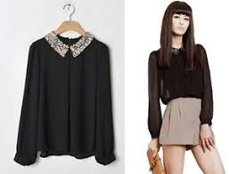 black blouse with white collar collar blouse tops shirts ebay