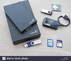 Storage Devices Collection Of Digital Storage Devices With A Card Reader On A