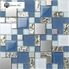 tst glass metal tile blue silver steel frsoted glass mosaic home