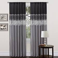 Black And Gray Curtains Lush Decor Sky Curtain Panel Black Gray Home