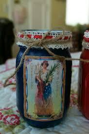 2 patriotic americana painted mason jars decoupage rustic