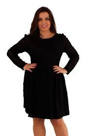 ladies plus size long sleeve lace skater dress 14 20 black 14 ebay