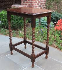 pie crust end table antique english oak rectangular barley twist pie crust l accent