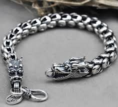 sterling silver bracelet men images Wholesale 100 real pure 925 sterling silver bracelet men dragon jpg