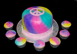 tie dye and peace sign birthday cake and cupcakes dana brown