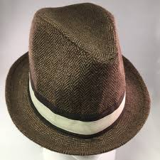 brown ribbon brown wool tweed trilby hat w brown ribbon detail acco store
