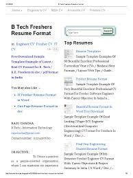 Resume Format For Mba B Tech Freshers Resume Format Résumé Java Server Faces