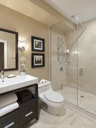 bathroom with shower stall decoration using cream glass tile