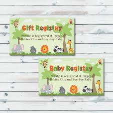 baby registry cards registry inserts safari baby shower gift