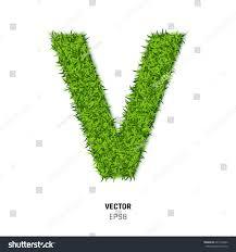 letter v made green grass texture stock vector 647703832