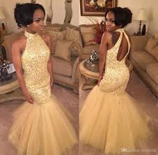 2017 high neck puffy mermaid prom dresses long yellow tulle bling