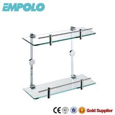 bathroom accessories double glass shelf wall hang glass rack for