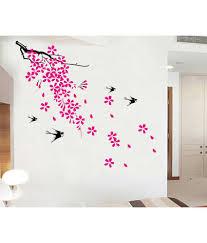 uberlyfe pink flower with tree u0026 bird wall sticker for home decor