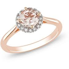 pink gold engagement rings diamond and morganite inexpensive engagement ring 1 00