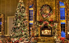 beautiful christmas tree by the fireplace wallpaper holiday
